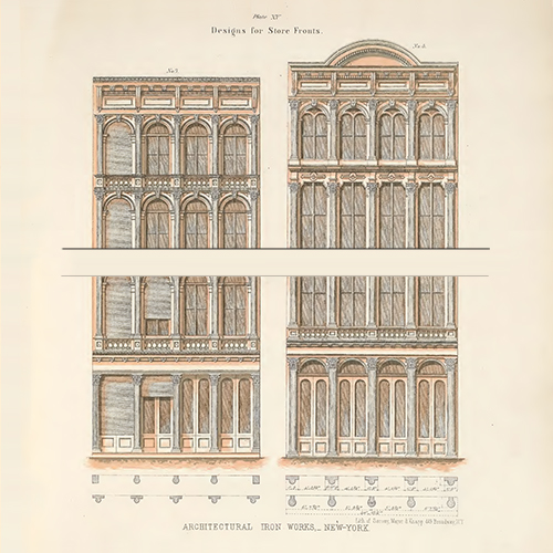 Historical cast-iron façade drawing